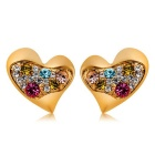 Xinguang Women's Symmetric Hearts Design Earrings - Golden (Pair)