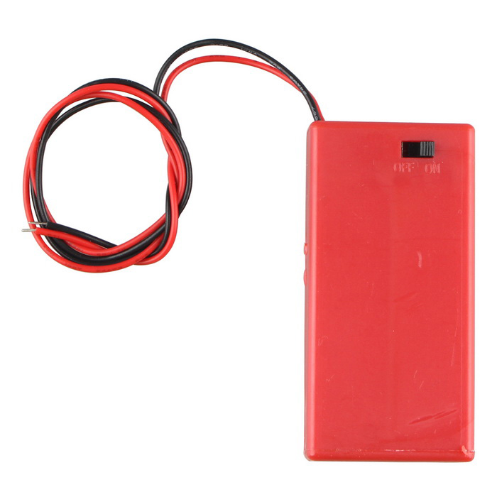 2 * batterie AA Holder Box Case w / Leads / Switch / Cover - Red
