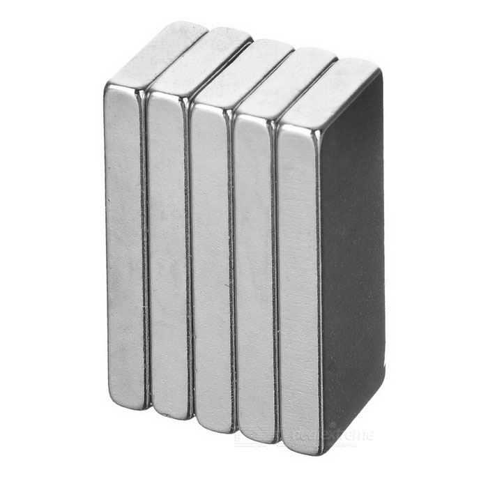 28 * 12 * 4 mm rectangular imán de NdFeB - plata (5PCS)
