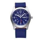 Classic Fashionable Canvas + PU Leather Strap Analog Wrist Watch (1 * S377)