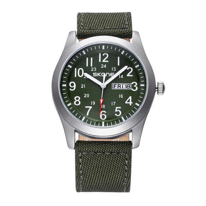 SKONE 390304 Unisex Quartz Wristwatch w/ Calendar Display - Army GreenQuartz Watches<br>Form ColorArmy Green 390304Model390304Quantity1 DX.PCM.Model.AttributeModel.UnitShade Of ColorGreenCasing MaterialAlloyWristband MaterialCanvas + PU leatherSuitable forAdultsGenderUnisexStyleWrist WatchTypeCasual watchesDisplayAnalogMovementQuartzDisplay Format12 hour formatWater ResistantNODial Diameter4.03 DX.PCM.Model.AttributeModel.UnitDial Thickness1.08 DX.PCM.Model.AttributeModel.UnitWristband Length24 DX.PCM.Model.AttributeModel.UnitBand Width2.17 DX.PCM.Model.AttributeModel.UnitBattery1 * S377 (included)Packing List1 * Watch<br>