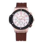Water Resistant Silicone Watchband Analog Quartz Wristwatch with 3 Working Sub-Dials (1 * S377)