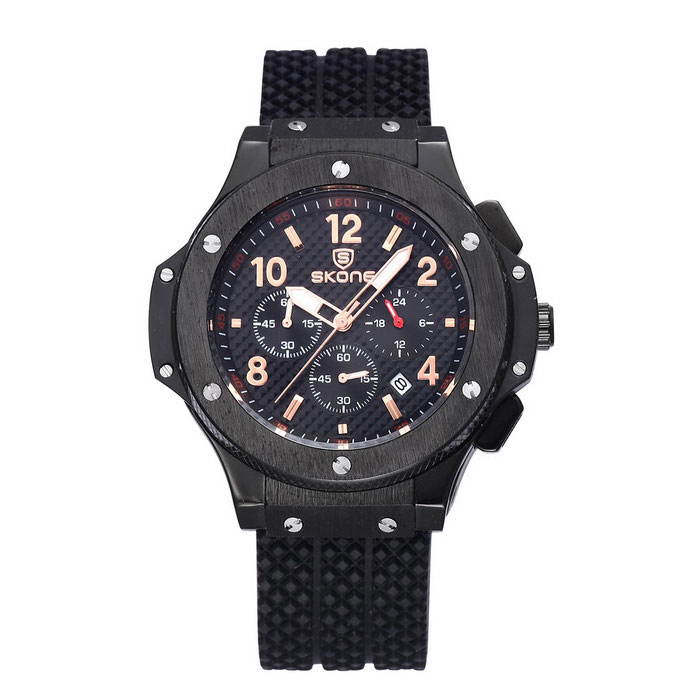 SKONE 390003 Men's Sports Watch w / Calendar - Black