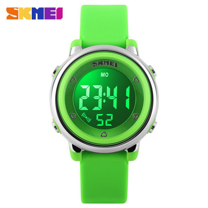 SKMEI 1100 Girls Multifunctional Silicone Sports Watch - GreenSport Watches<br>Form  ColorGreenQuantity1 DX.PCM.Model.AttributeModel.UnitShade Of ColorGreenCasing MaterialPlastic &amp; MetalWristband MaterialSiliconeSuitable forChildrenGenderWomenStyleWrist WatchTypeSports watchesDisplayDigitalBacklightYESMovementDigitalDisplay Format12/24 hour time formatWater ResistantWater Resistant 5 ATM or 50 m. Suitable for swimming, white water rafting, non-snorkeling water related work, and fishing.Dial Diameter3.3 DX.PCM.Model.AttributeModel.UnitDial Thickness1.3 DX.PCM.Model.AttributeModel.UnitWristband Length22 DX.PCM.Model.AttributeModel.UnitBand Width2.2 DX.PCM.Model.AttributeModel.UnitBattery1 * CR2025 (included)Packing List1 * Watch<br>
