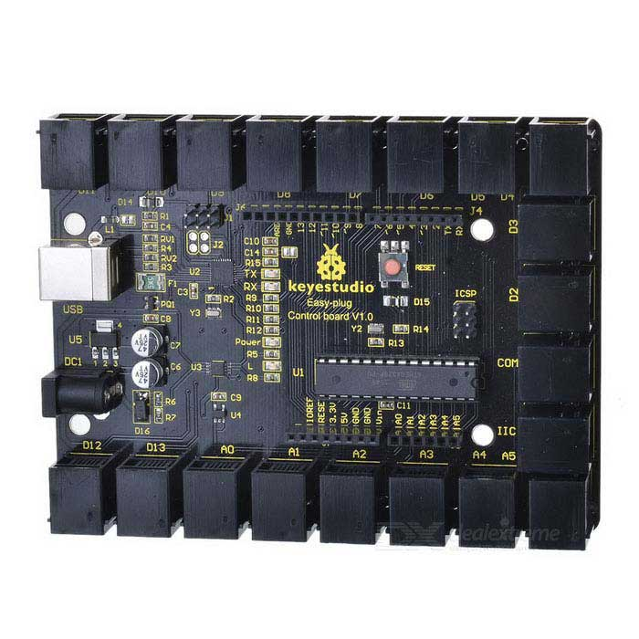 Keyestudio EASY Plug Control Board for Arduino - Black + Yellow