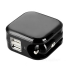 DC 5V 1A / 2A Dual USB Car Charger with US Plug - Black