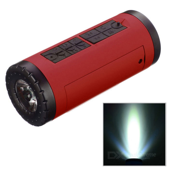 PINDO PD P-X6 bicicleta Bluetooth Speaker & Power Bank - vermelho + preto