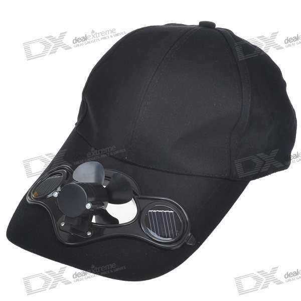 Stylish Hat/Cap with Solar Powered & Switch Cooling Fan (Black)