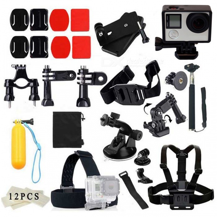 Chest Strap Head Mount Monopod Accessoires Kit Case voor GoPro - Zwart