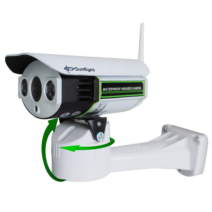 SunEyes SP-P1803SWZ Outdoor Zoom 1080P HD PTZ IP Camera - White (US)IP Cameras<br>Form  ColorWhitePower AdapterUS PlugModelSP-P1803SWZMaterialMetal AlloyQuantity1 DX.PCM.Model.AttributeModel.UnitImage SensorCMOSImage Sensor SizeOthers,1/2.8Pixels2.0MPLensOthers,6-22mm Optical ZoomViewing AngleOthers,60-15 DX.PCM.Model.AttributeModel.UnitVideo Compressed FormatH.264Picture Resolution1920*1080PFrame Rate25fpsInput/OutputYes with SlotAudio Compression FormatOthers,G.726 / G.711Minimum Illumination0.02 DX.PCM.Model.AttributeModel.UnitNight VisionYesIR-LED Quantity2Night Vision Distance30-50 DX.PCM.Model.AttributeModel.UnitWireless / WiFi802.11 b / g / nNetwork ProtocolTCP,IP,UDP,HTTP,SMTP,FTP,DHCP,NTP,DDNS,uPnP,PPPoE,TFTP,ARPSupported SystemsWindows 2000,2003,XP,Vista,7,Others,win8Supported BrowserIE 6.0 and above,FirefoxSIM Card SlotNoOnline Visitor10IP ModeDynamicMobile Phone PlatformAndroid,iOSFree DDNSnoIR-CUTYesBuilt-in Memory / RAMNoLocal Memoryyes with SlotMemory CardMicro SD CardMax. Memory Supported32GBMotorYesRotation AnglePan: 255,  Tilt:50Zoom6-22mm Optical ZoomSupported LanguagesEnglish,Simplified ChineseWater-proofIP66Rate Voltage12VRated Current2 DX.PCM.Model.AttributeModel.UnitCertificationCE, FCC, RoHSPacking List1 * Camera1 * CD1* Power adapter (AC 100-240V / US plug / 110cm-cable)1 * Antenna1 * Bracket1 * Screw<br>