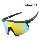 OSSAT 100% UV Protection Hiking Sports Glasses - Black + Yellow REVO