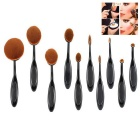 Professional Makeup Cosmetic Brushes Tool Set - Black + Brown (10 PCS)