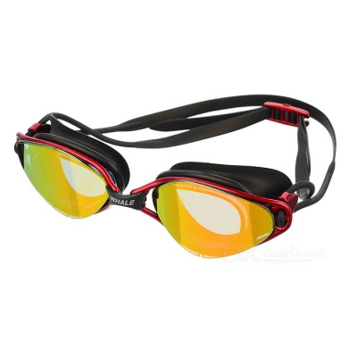 Anti Fog Waterproof Swim Goggles Swimming Glasses - Black + Red