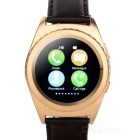"NO.1 G4 MTK6261A 1.2"" Round Screen Leather Strap Smart Watch - Golden"