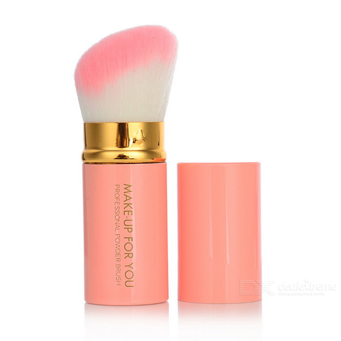 MAKE-UP FOR YOU Retractable Cosmetic Makeup Powder Brush - Pink + Gold