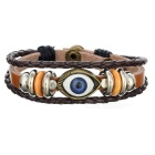 Retro Eye Shape Beading Cow Split Leather Bracelet - Brown + Silver