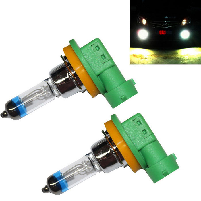 H11 55W 2300lm Car Headlights Warm White (12V / 2PCS)Headlights<br>Color Temperature3500KModel-Quantity1 DX.PCM.Model.AttributeModel.UnitMaterialHalogen bulbs + stainless steel capForm  ColorOthers,Green + silver + blueCompatible Car ModelIt applies to all cars with lights H11 interface.Rate Voltage12VPower55WColor BINWarm WhiteTheoretical Lumens2300 DX.PCM.Model.AttributeModel.UnitActual Lumens2200-2300 DX.PCM.Model.AttributeModel.UnitConnector TypeOthers,H11Packing List2 * Car headlights<br>