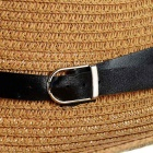Fashionable Folding Sun Shade Straw Hat w/ Leather Buckle - Khaki