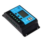 20A 12V/24V Dual USB Solar Panel Charge Controller - Black + Blue