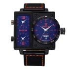 SKONE 390103 Men's Personalized 3 Working Dials Watch - Black + Orange