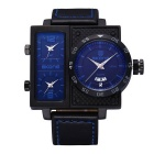 SKONE 390104 Men's Personalized 3 Working Dials Watch - Black + Blue