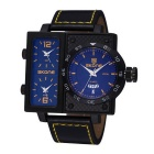 SKONE 390105 Men's Personalized 3 Working Dials Watch - Black + Yellow