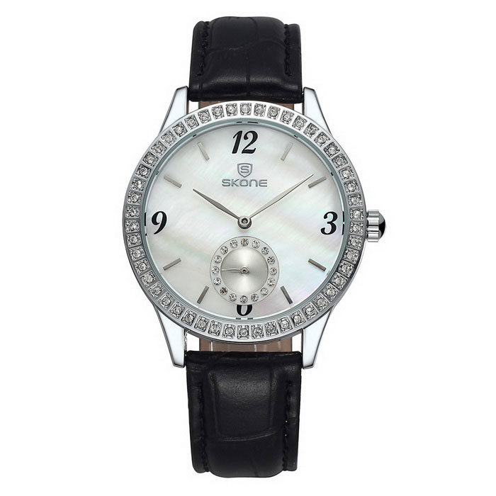 SKONE Women's Shell Dial Watch with Working Sub-Dial - Black + White