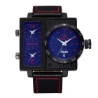 Cool Square Dial PU Leather Band Analog Quartz Wristwatch with Week & Date Calendar (1 * S377)
