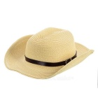 Fashionable Folding Sun Shade Straw Hat w/ Leather Buckle - Beige