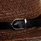 Fashionable Folding Sun Shade Straw Hat w/ Leather Buckle - Coffee