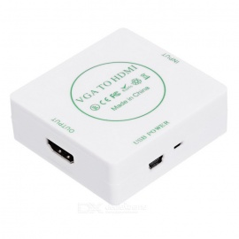 VGA PC  to HDMI 1080P TV Projector Converter with Audio - White