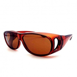 Big Frame Windproof Polarized Sunglasses for Myopic Glasses - Brown