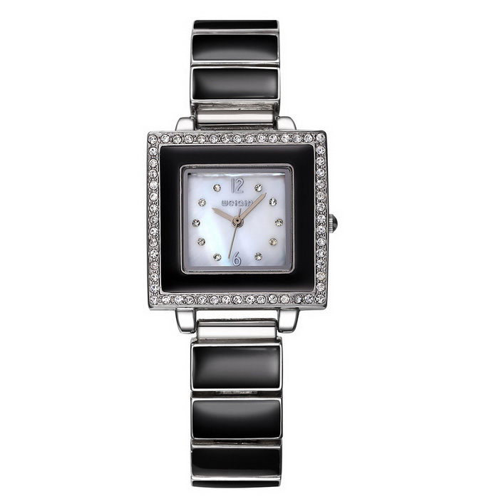 WeiQin 368802 Women's Square Shell Dial Watch - Black + White