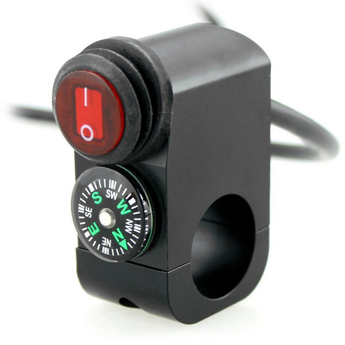 IZTOSS S517BK 12V 16A Motorcycle Headlight Switch w/ Compass