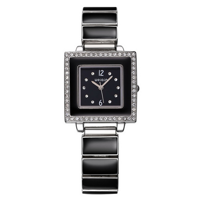 WeiQin 368801 Women's Square Shell Dial Watch - Black