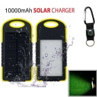 "SUNGZU ""10000mAh"" Dual USB Solar Power Bank + Compass - Yellow + Black"