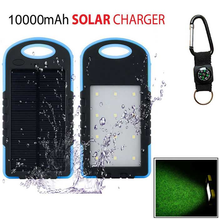 SUNGZU «10000mAh» Dual USB Solar Power Bank + Компас - синий + черный