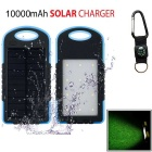 "SUNGZU ""10000mAh"" Dual USB Solar Power Bank + Compass - Blue + Black"
