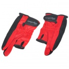 Professional Fishing Antiskid Fabric + Cotton Gloves - Red + Black (Pair)