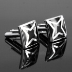 Men's Unique Patterned Brass Cufflinks - Silver + Black (Pair)