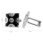 Men's X Letter Pattern Cufflinks - Silver + Black (Pair)