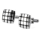 Men's Small Latticed Brass Cufflinks - Silver + Black (Pair)
