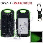 "SUNGZU ""10000mAh"" Dual USB Solar Power Bank + Compass - Green + Black"