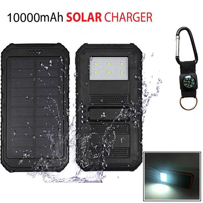 "SUNGZU ""10000mAh Dual USB Solar Power Bank w/ Compass - Black"