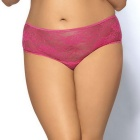 Women's Lace Open File Sexy Fancy Underwear Lingerie - Deep Pink (L)