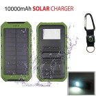 "SUNGZU ""10000mAh"" Dual USB Solar Power Bank w/ Compass - Green + White"