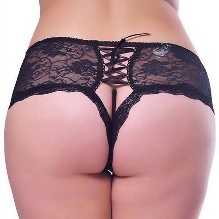 Women's Lace Open File Sexy Fancy Underwear Lingerie - Black (XXL)