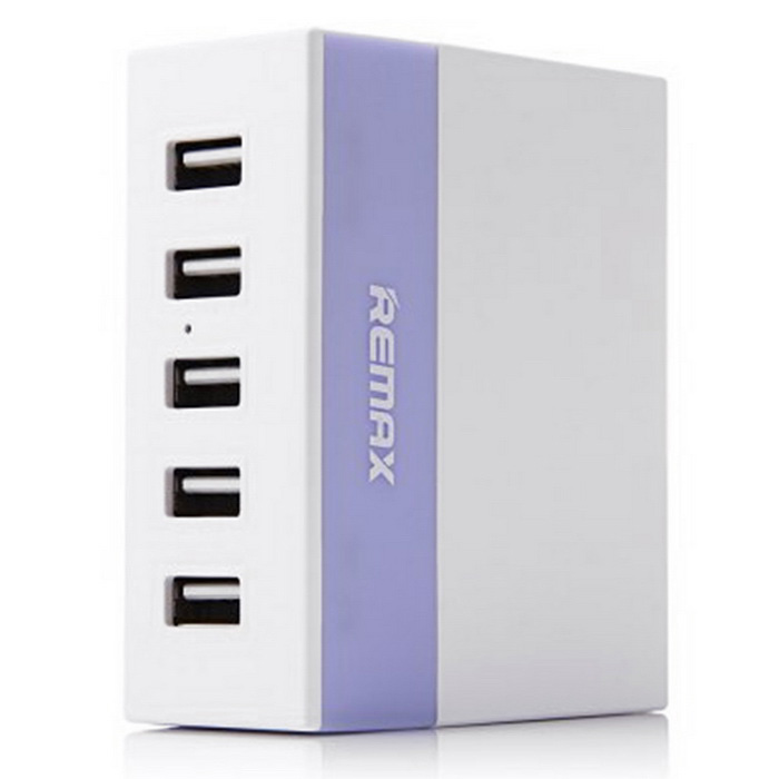 REMAX 1A / 2.1A / 2.4A 5 USB Ports Charger  - Purple +White (US Plugs)USB Hubs &amp; Switches<br>Form  ColorWhite + PurpleQuantity1 DX.PCM.Model.AttributeModel.UnitMaterialABS + PCShade Of ColorPurpleIndicator LightNoPort Number5Current Output1A / 2.1A / 2.4AWith Switch ControlNoInterfaceUSB 2.0Transmission RateOthers,N/A DX.PCM.Model.AttributeModel.UnitPowered ByUSBSupports SystemWin xp,Win 2000,Win vista,Win7 32,Win7 64,Win8 32,Win8 64,MAC OS X,IOS,Linux,Android 2.x,Android 4.xOther FeaturesInput: AC 100 ~ 240V 50 / 60Hz 10A Max<br>Output: 5V 1A / 2.1A / 2.4APacking List1 * USB Charger1 * Power Cord (120cm)<br>