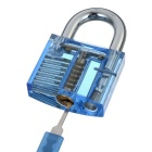 Transparent Lock + 9-Lockpick Training Tool Set - Translucent Blue