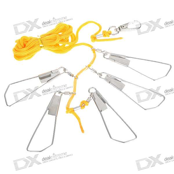 Fish Lock with 5 Steel Hooks + Connect Rope + Keychain (Yellow + Silver)